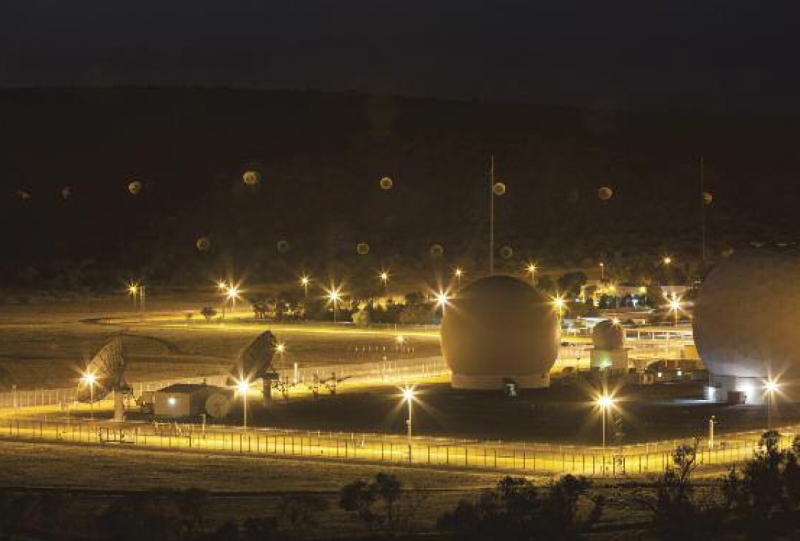 Pine Gap DSP/SBIRS communications antennas. Photograph: Kristian Laemmle-Ruff